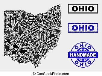 Handmade Composition of Ohio State Map and Textured Seal
