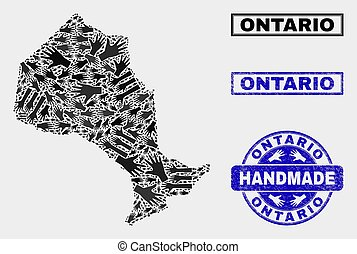 Handmade Composition of Ontario Province Map and Grunge Stamp
