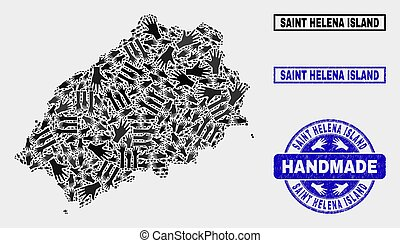 Handmade Composition of Saint Helena Island Map and Scratched Stamp