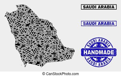 Handmade Composition of Saudi Arabia Map and Distress Seal