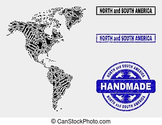Handmade Composition of South and North America Map and Distress Seal