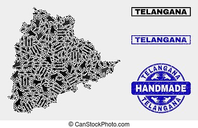 Handmade Composition of Telangana State Map and Textured Stamp