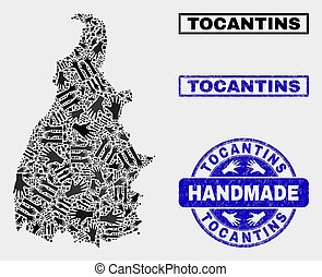 Handmade Composition of Tocantins State Map and Textured Seal