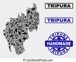 Handmade Composition of Tripura State Map and Textured Stamp