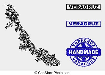 Handmade Composition of Veracruz State Map and Textured Seal