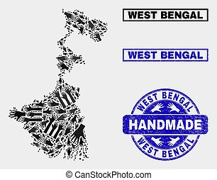 Handmade Composition of West Bengal State Map and Grunge Seal