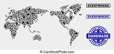 Handmade Composition of World Map and Grunge Stamp