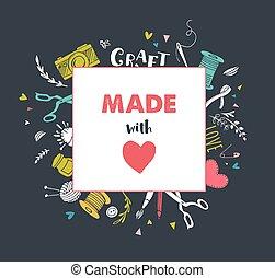 Handmade, crafts workshop, art fair and festival poster,...