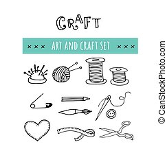 Handmade, crafts workshop icons. Hand drawn illustrations - ...