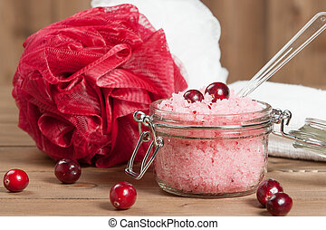 Handmade Cranberry Scrub With Argan Oil. Dead Sea Bath Salt....