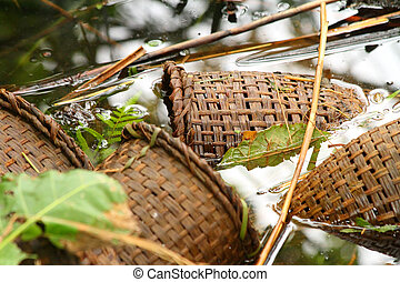 Handmade Crayfish Traps Placed in Water
