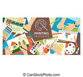 Handmade creative kids banner.