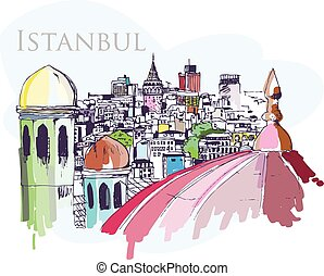 Istanbul - Handmade digital tablet drawing of Istanbul city...