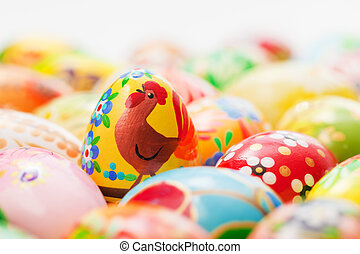 Handmade Easter eggs collection. Spring, chicken patterns art, unique.