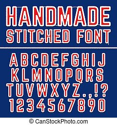 Handmade embroidered vector font alphabet. Stitched letters for fabric decoration