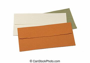 handmade envelopes on white
