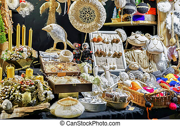 Handmade fabric accessories and souvenirs at Riga Christmas market
