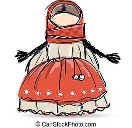 Handmade folk doll mascot, sketch for your design