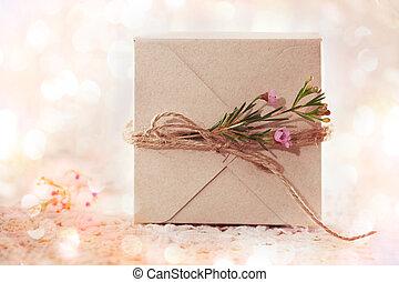 Handmade gift box with wax flowers
