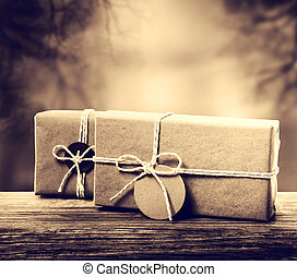 Handmade gift boxes in sepia tone