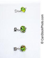 Handmade glass green beads