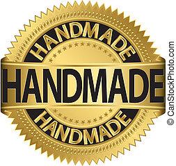 Handmade golden label, vector illustration