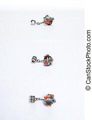 Handmade grey glass beads