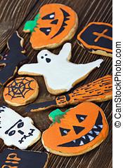 Handmade Halloween cookies background