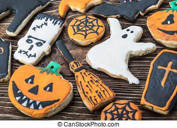Handmade Halloween cookies - Handmade Halloween cookies on a...