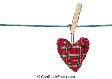 handmade heart hang on the rope