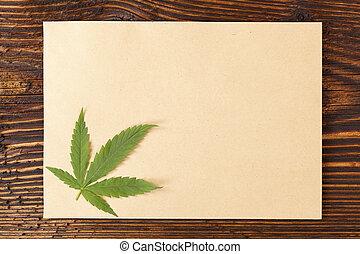 Handmade hemp paper. - Handmade hemp paper on wooden table, ...