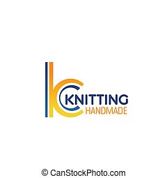 Handmade knitting letter K vector icon