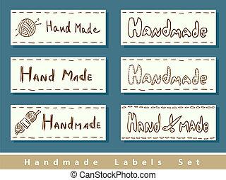 Handmade labels. Vector illustration.