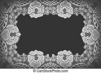 Handmade lace doily on a black background