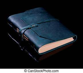 Luxury Handmade Leather Dark Green Notepad with Peach Colored Paper isolated on Black background