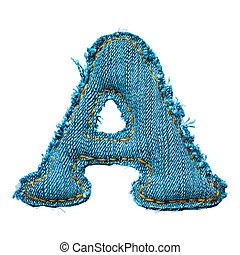 Handmade letter of jeans alphabet on white