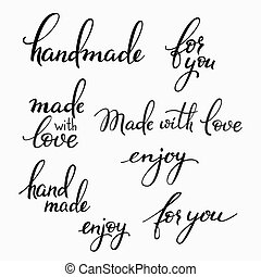 Handmade lettering set. Calligraphy postcard or label ...