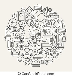 Handmade Line Icons Circle