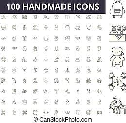 Handmade line icons, signs, vector set, outline illustration concept