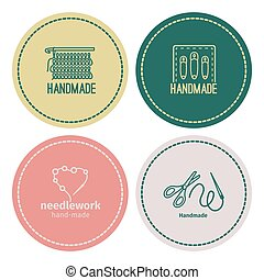 Handmade line vintage logo set
