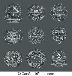 Handmade logo or crafts emblems vintage vector set