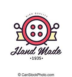 Handmade Logo Template Since 1935 Retro Needlework Craft Badge Handicraft Element Vector Illustration