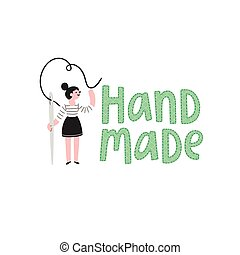Handmade logo with a girl