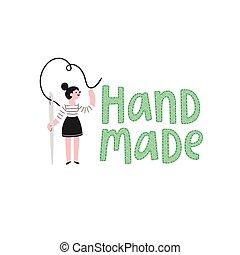 Handmade logo with a girl