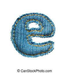 Handmade lowercase letter of jeans alphabet on white