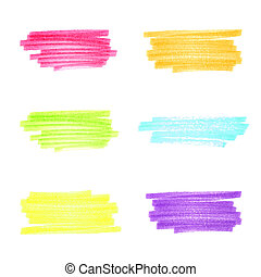 Vector handmade marker stripes different bright colors. set of six design elements