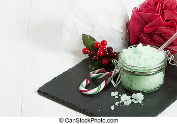 Handmade Mint Scrub With Coconut Oil. Toiletries, Spa Set...