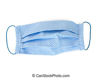 Handmade multicolored fabric reusable protective medical mask isolated on white background. Coronavirus protection.