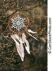 Handmade native american dream catcher on background of ...