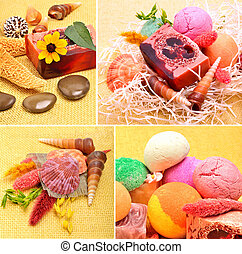 Handmade natural soap, shells and pebbles, spa, collage,...